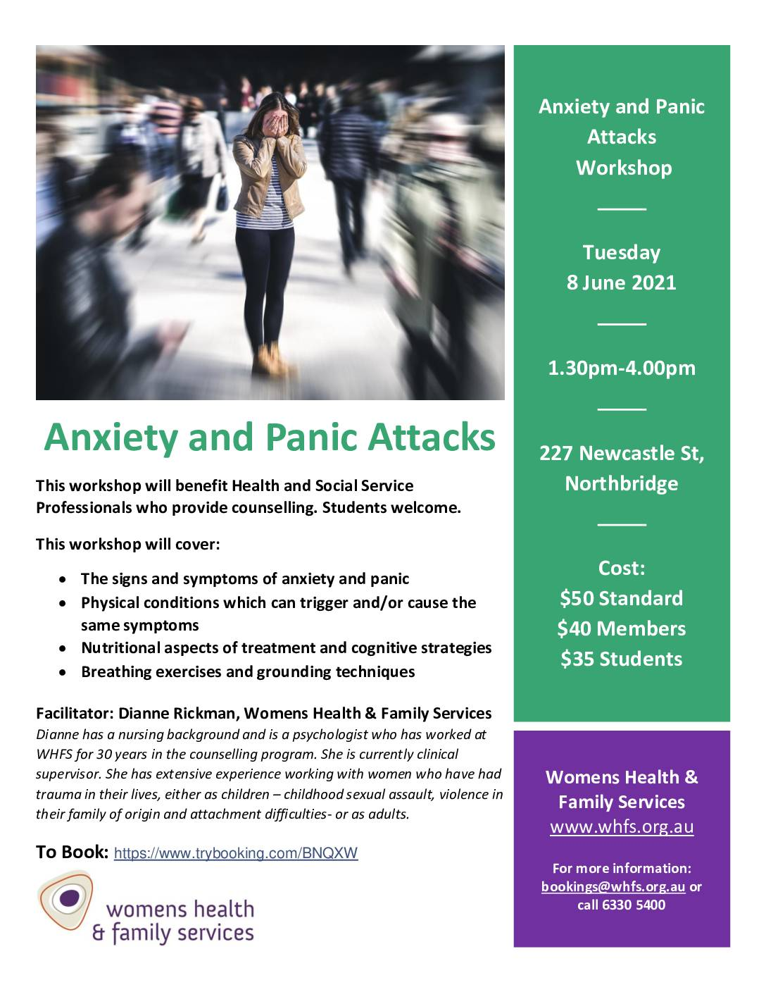 Anxiety and Panic Attacks Workshop Flyer