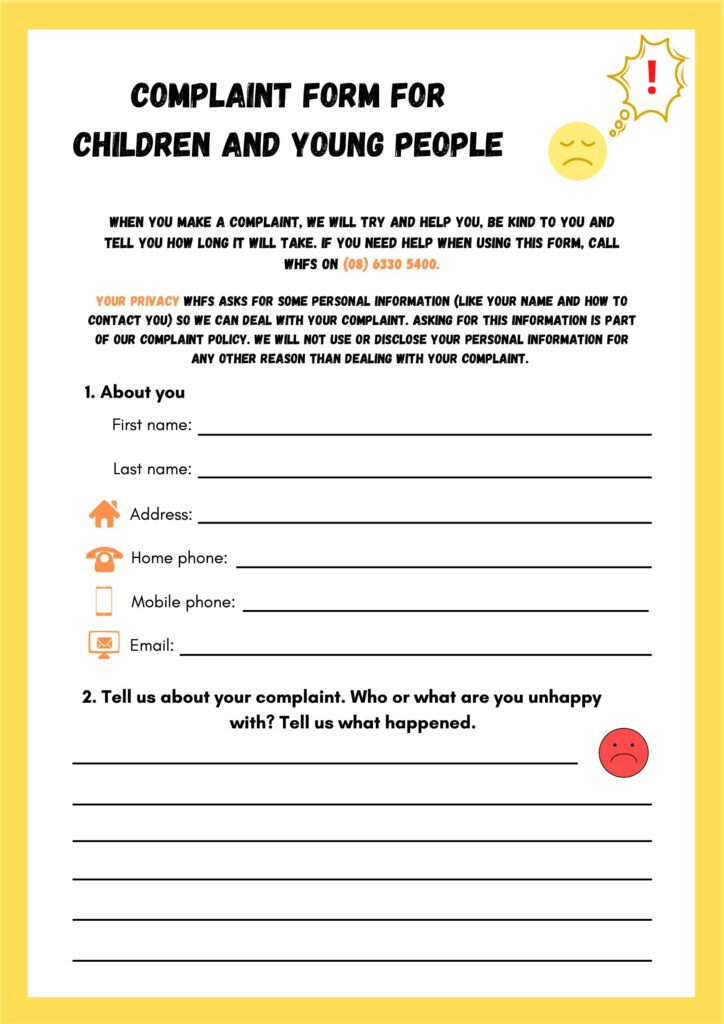 Complaint Form for Children & Young People